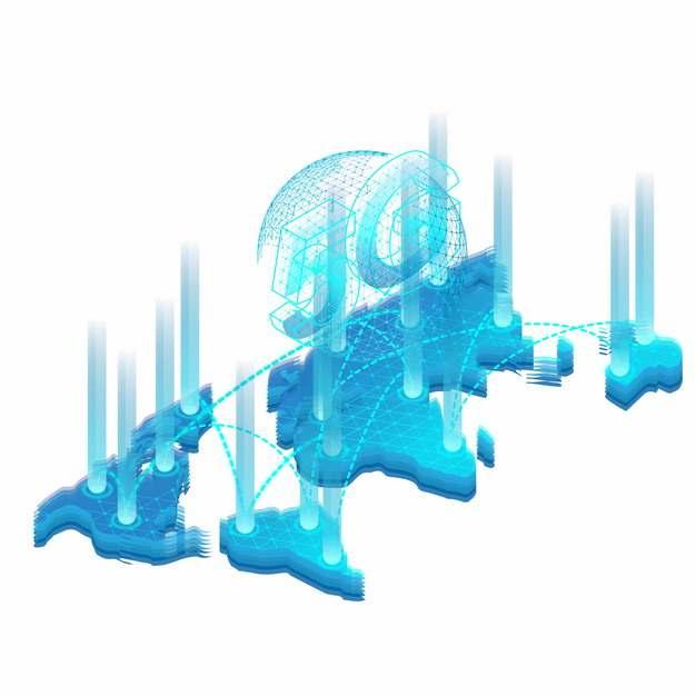 蓝色科技风格世界地图和5G字体397646png图片素材