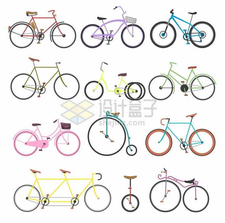 12款简约自行车侧面图png图片免抠矢量素材