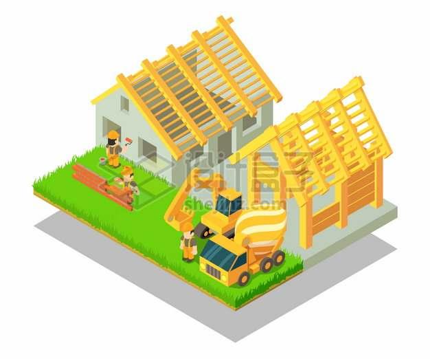 2.5D风格卡通建筑工人正在建造房子别墅png图片素材
