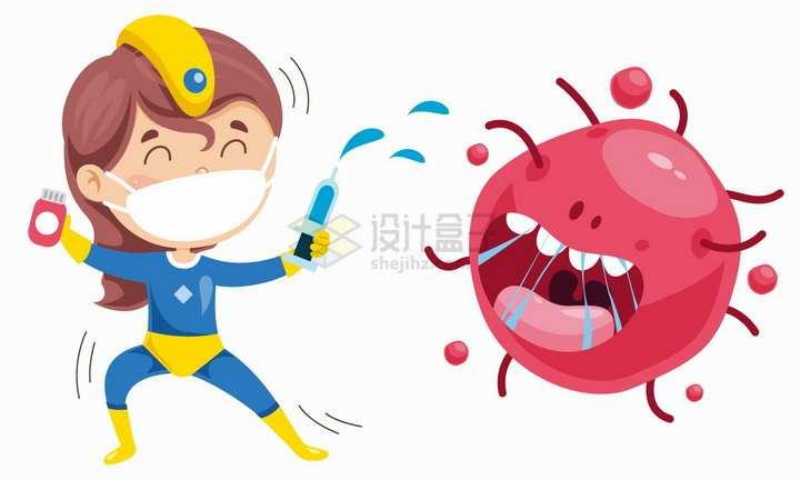戴口罩的卡通女超人正在杀灭新型冠状病毒细菌png图片免抠矢量素材
