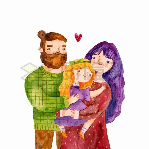爸爸妈妈抱着女儿幸福的一家三口水彩插画png图片素材