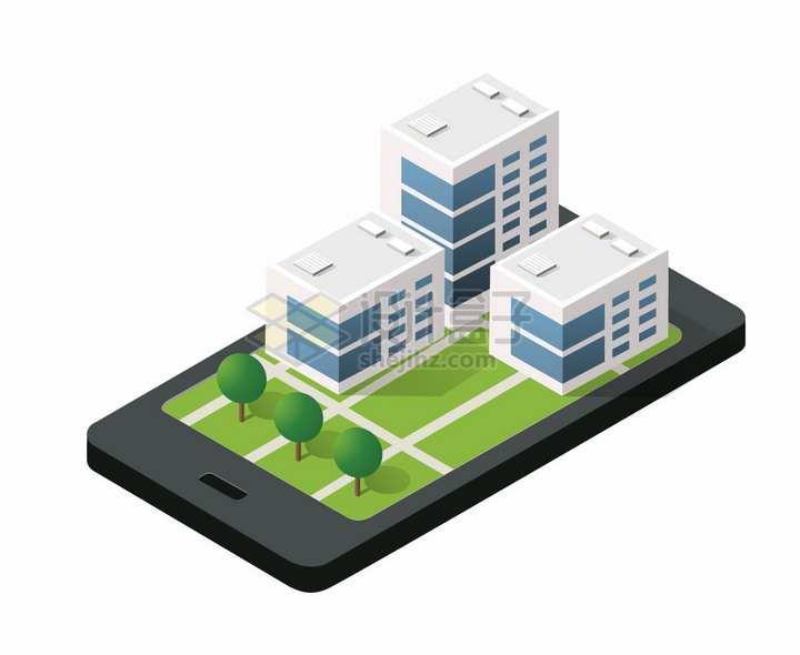 2.5D风格手机上的城市建筑png图片免抠矢量素材