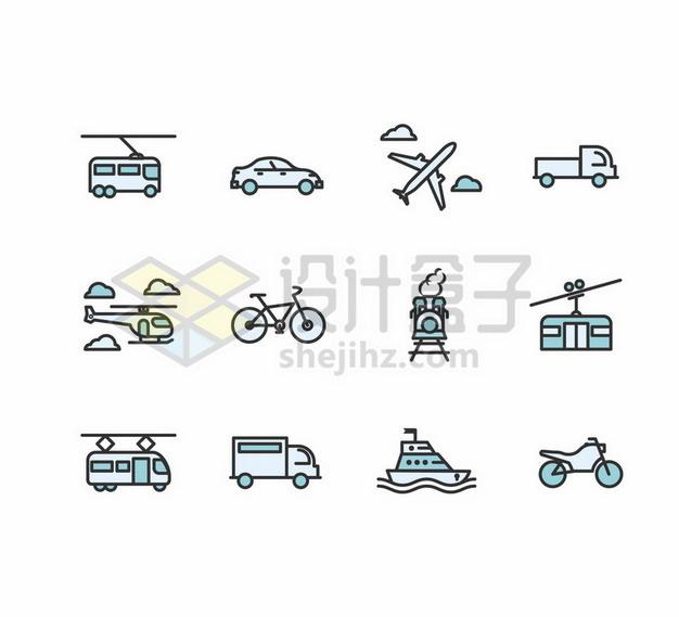 有轨电车出租车飞机卡车自行车货车缆车轮船摩托车等交通工具卡通图标png图片素材 图标-第1张
