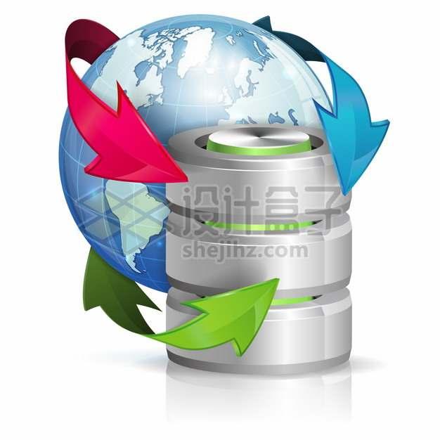 蓝色地球和存储器象征了数据备份png图片素材