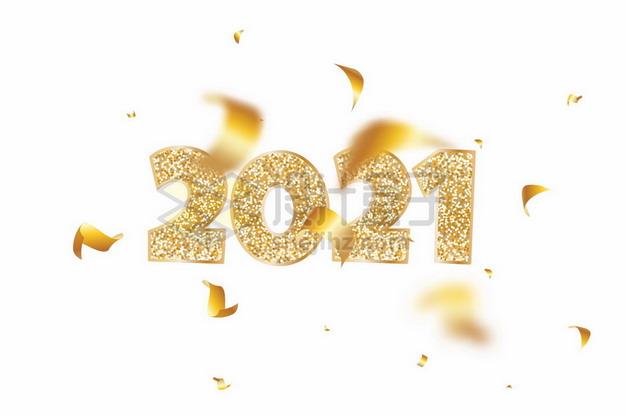 金色镶钻的2021年艺术字体665110png矢量图片素材 字体素材-第1张