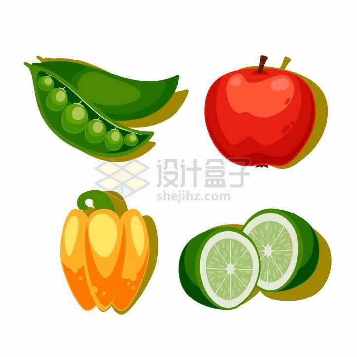 卡通豌豆石榴灯笼椒柠檬美味水果蔬菜png图片免抠矢量素材