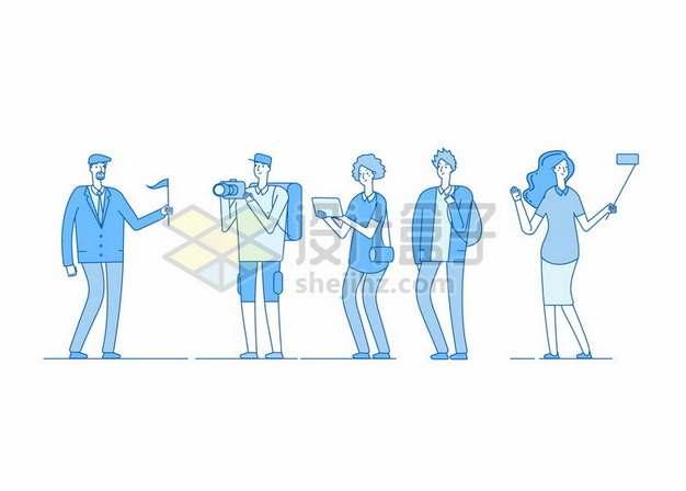 蓝色卡通导游举着旗帜引导游客959767png图片素材