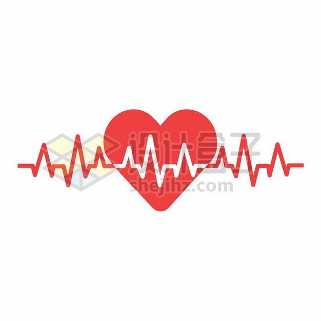 红色心电图和红心图案987824png矢量图片素材 健康医疗-第1张