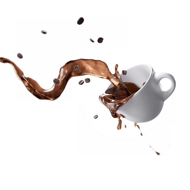倒掉的马克杯和泼洒出来的咖啡液体效果826980png图片素材