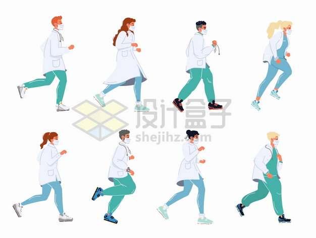 8个奔跑中的急救医生医护人员png图片素材