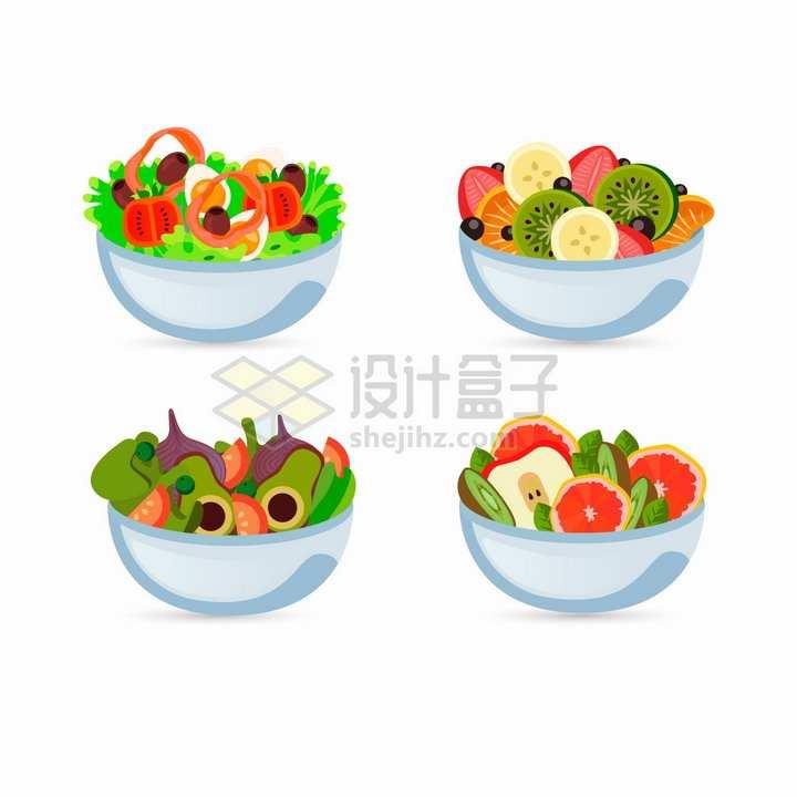 4款水果蔬菜混合拼盘美味美食png图片免抠矢量素材