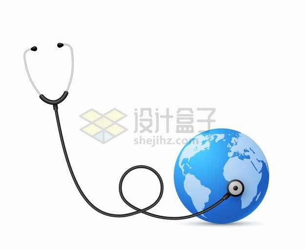 听诊器和蓝色地球png图片素材