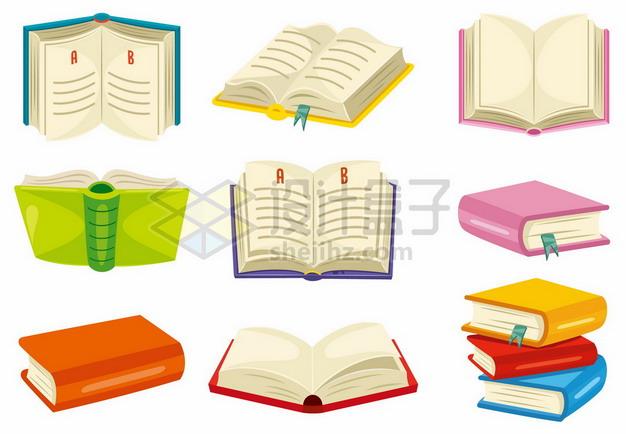 9款翻开的卡通书本书籍459600png矢量图片素材 教育文化-第1张