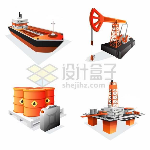 油轮磕头机石油桶海上钻井平台石油开采工业png图片素材