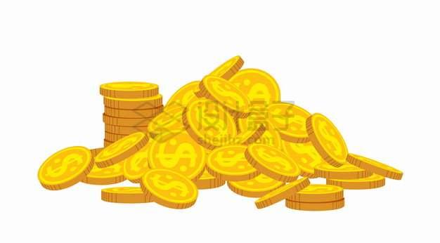 杂乱堆放在一起印有美元符号的金币硬币png图片素材