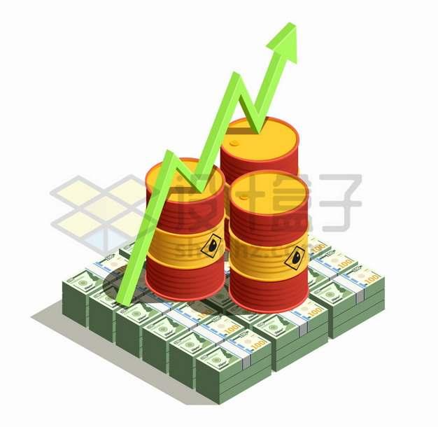 美元上的石油桶和增长箭头png图片素材
