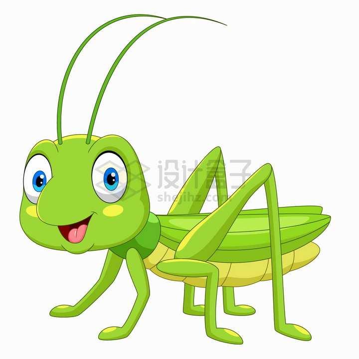 开心的蚂蚱蝗虫可爱卡通动物png图片免抠矢量素材