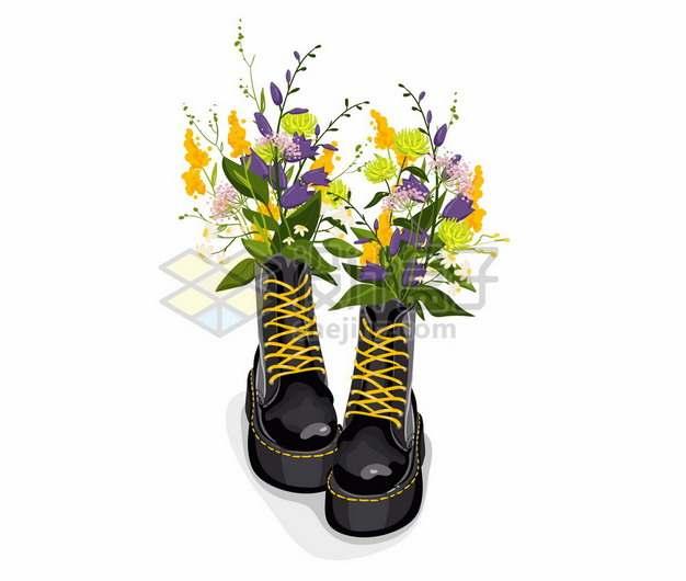 插满鲜花的一双黑色的马丁靴户外步行作战靴高帮靴子333906png矢量图片素材