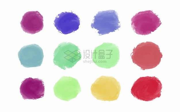 12款彩色笔触涂鸦水彩画圆形png图片素材