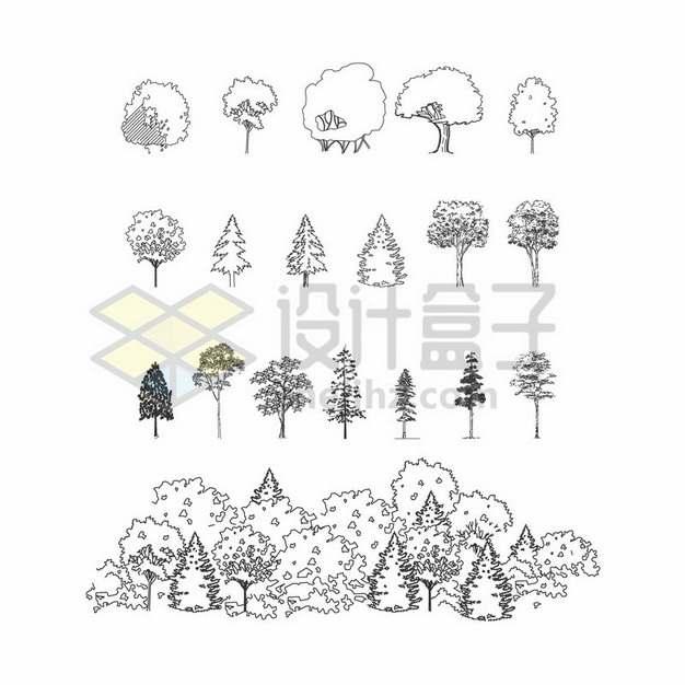 各种黑色线条手绘素描大树森林树林520725png图片素材