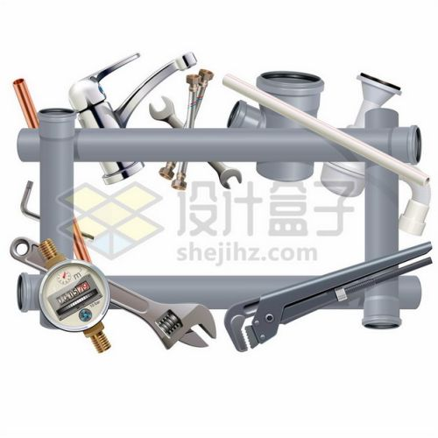 水龙头扳手水表大力钳水管等组成的装修边框399768png矢量图片素材