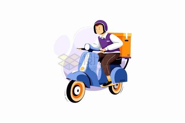使用电瓶车摩托车送货的快递员png图片素材