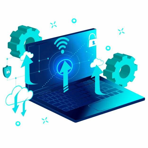 笔记本电脑和云计算技术935883png图片素材