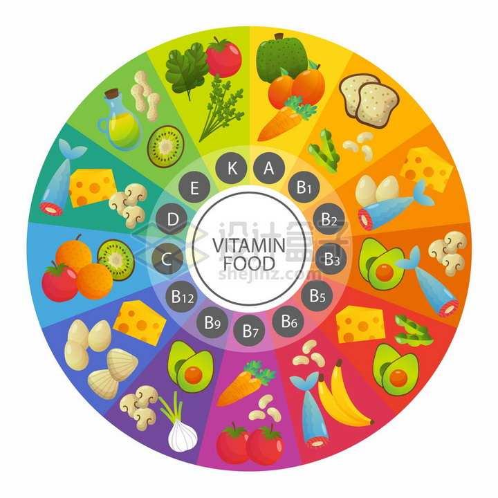 富含各类维生素的蔬菜水果食物圆形分类图png图片免抠矢量素材