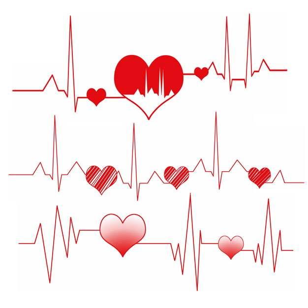 红色心电图和红心图案575299png图片素材
