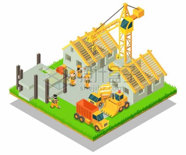 2.5D风格卡通建筑工人操作水泥车塔吊建造房子png图片素材