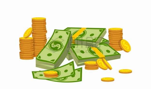 杂乱堆放在一起的美元钞票和金币硬币png图片素材