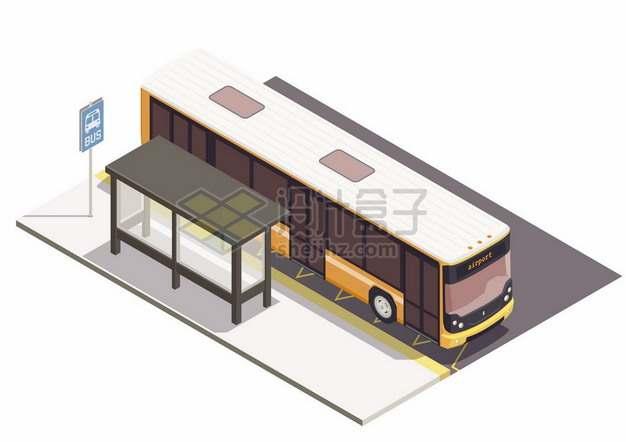 2.5D风格停靠在公交站台的公交车433411png图片素材