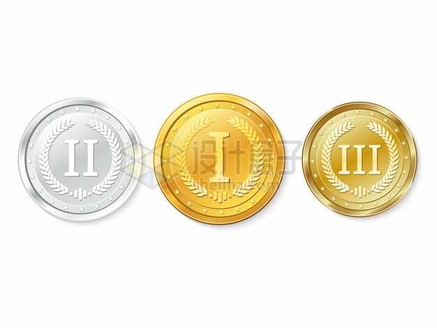 第一名第二名第三名奖牌金牌银牌和铜牌338645png矢量图片素材