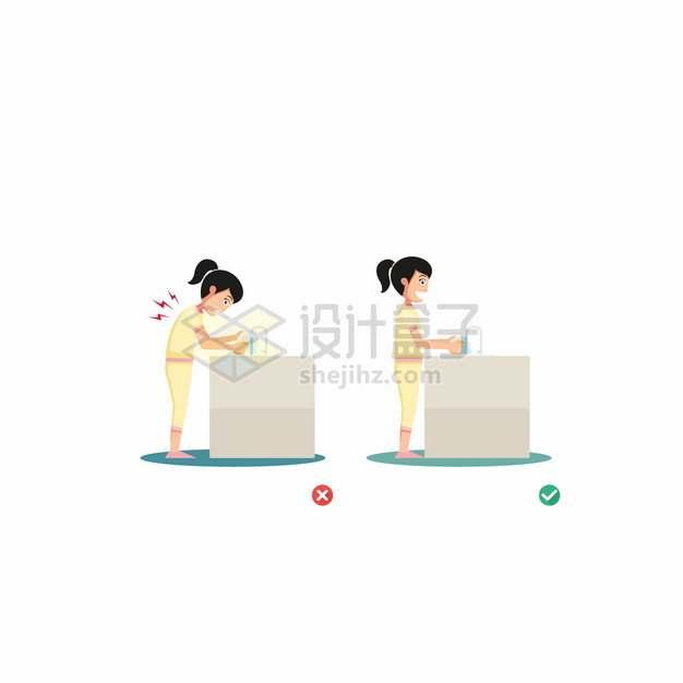 用洗手池时正确和错误的弯腰动作卡通女孩插画png图片素材