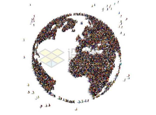 人群组成的地球世界地图图案世界人口日548512png图片素材