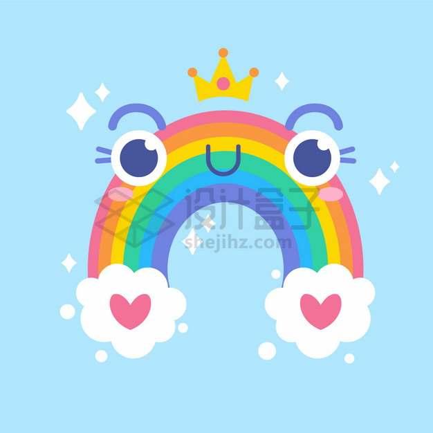 卡通白云和大大眼睛的七彩虹png图片素材
