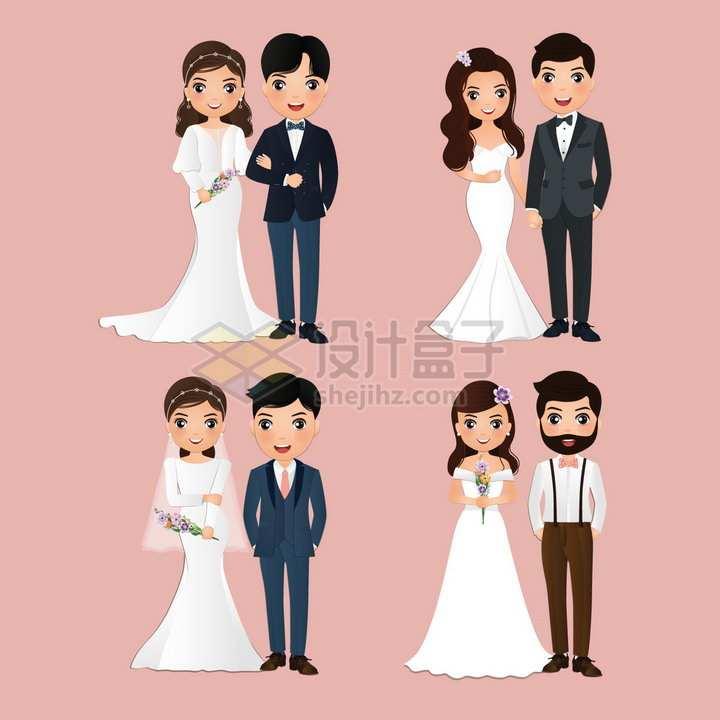 4款卡通结婚新人拍婚纱照的新婚夫妇png图片免抠矢量素材