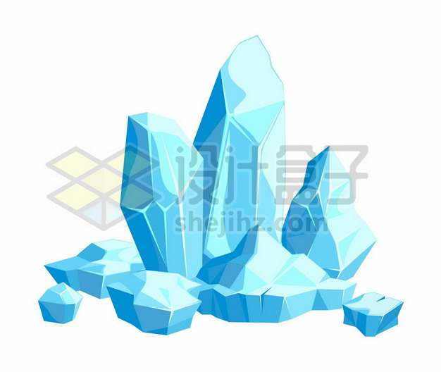 蓝色的卡通漫画冰山冰块915195png图片素材