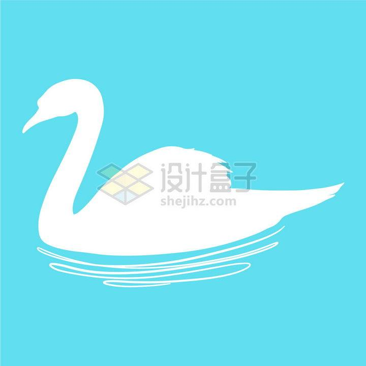 水面上的天鹅白色剪影和涟漪png图片免抠矢量素材