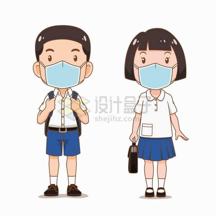 2个戴口罩背着书包上学去的卡通学生png图片免抠矢量素材