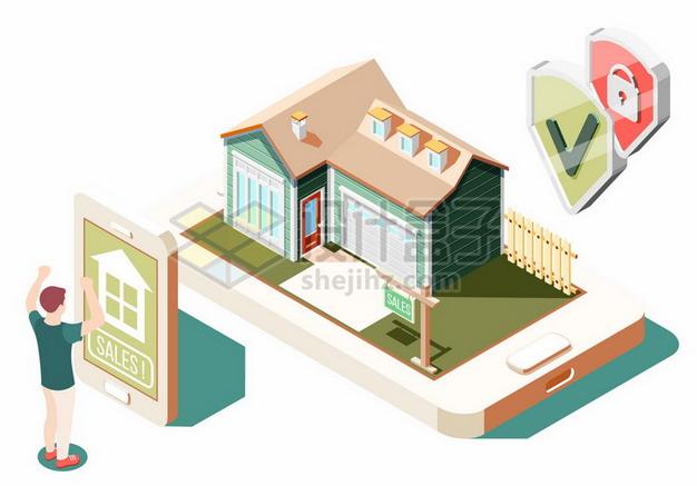 2.5D风格手机上买房子的安全性370240png矢量图片素材 建筑装修-第1张