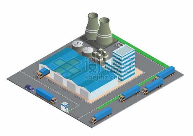 2.5D风格工厂巨大的厂房建筑烟囱和运输卡车png图片素材