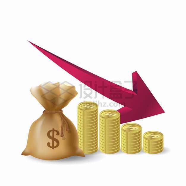 钱袋子金币和不断下降的红色箭头经济危机金融危机破产png图片素材