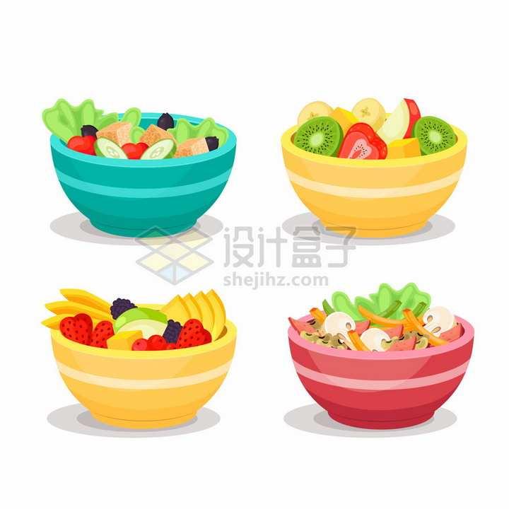 4款水果拼盘和蔬菜色拉美味健康美食png图片免抠矢量素材