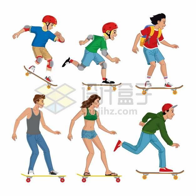 6款玩滑板的年轻人青少年png图片素材