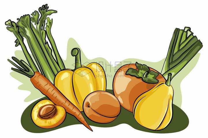 芹菜胡萝卜灯笼椒桃子梨子西红柿等美味蔬菜水果彩绘插画png图片免抠矢量素材