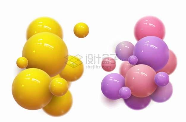 抽象彩色圆球塑料球聚合png图片素材