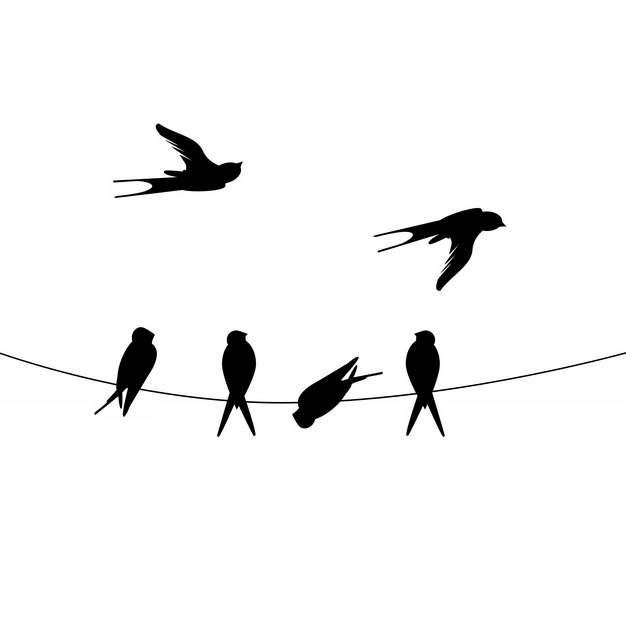 电线上的燕子剪影854832png图片素材