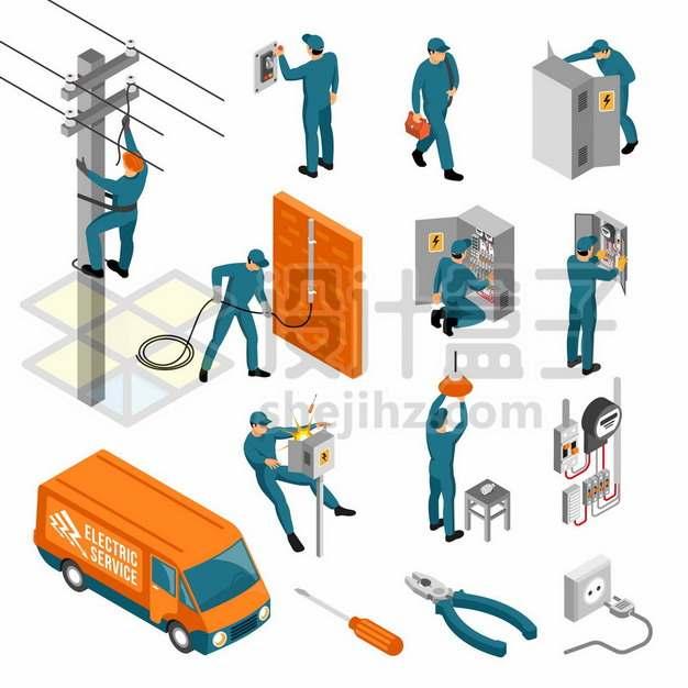 电工布设电路维修配电箱912019png图片素材
