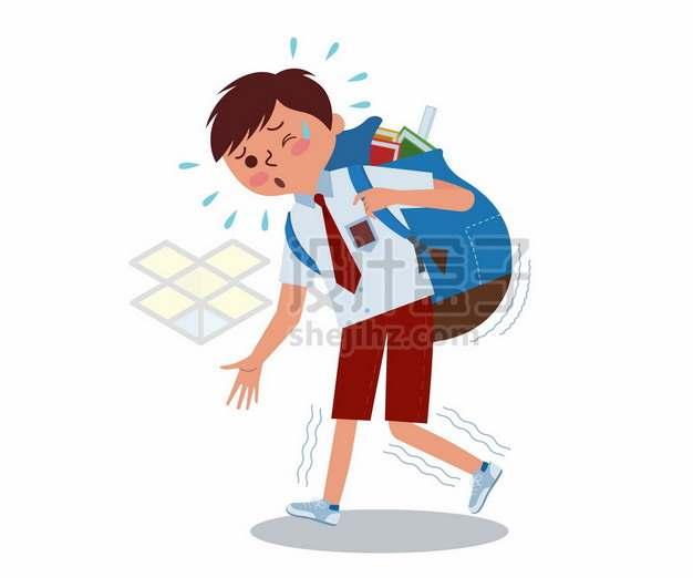 卡通学生背着沉重的书包象征了学生学习负担和减负970930png矢量图片素材